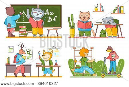 School Animal Characters Students Or Pupils. Cute Cartoon Beasts At School With Textbook, Schoolbag