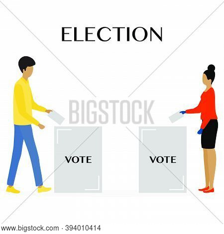 Voting Vector Illustration Election Day People Throw Ballot Into Ballot Box. People Give Their Vote