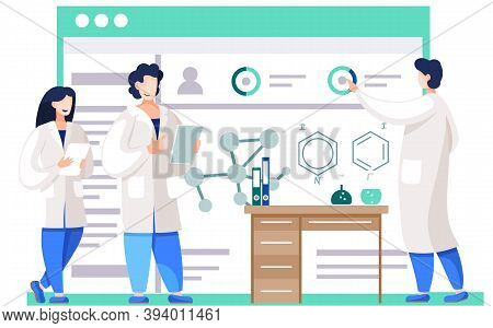 Chemical Experiments. Chemists Are Monitoring Research Progress. Model Of Chemical Compounds On The