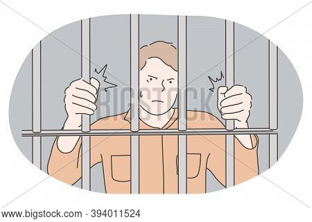 Jail, Prison, Cell, Captivity, Arrest, Punishment, Cage Concept. Young Angry Unhappy Man Cartoon Cha