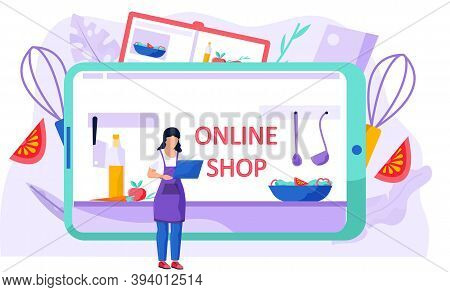 Woman With A Laptop In Her Hands Standing And Working On Her Computer. Online Shopping For Food For
