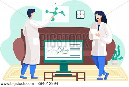 Scientists In Lab Coats. Chemical Experiment At Home. Chemists Are Monitoring Research Progress And