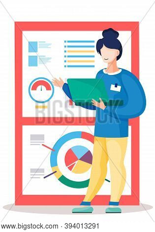 The Woman Analyzes Graphs And Charts On The Background. The Marketer Studies Information About The M