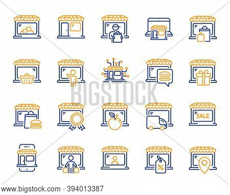 Market Store Line Icons. Online Marketplace, Wholesale Shop, Network Marketing. Store Showcase, Groc