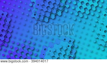 Abstract Layered Background With Gradient Perforated Grids In Papercut Style. Flowing Shapes With Sh