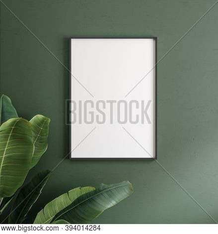Mockup Poster Frame Close Up On Wall With Decor, 3d Illustration