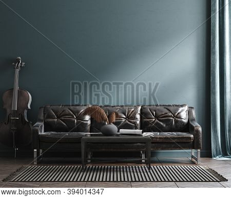 Home Interior Mock-up With Leather Sofa, Table And Cello Near Wall, 3d Illustration