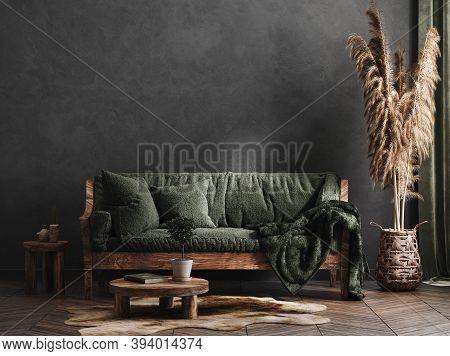 Living Room Interior, Ethnic Style, 3d Illustration