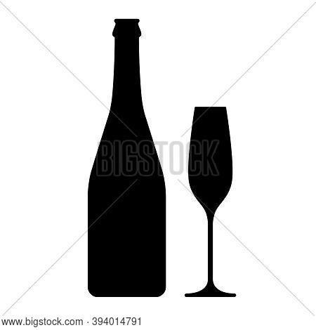 Champagne Bottle And Glass Graphic Icon. Bottle And Glass Of Champagne Sign Isolated On White Backgr