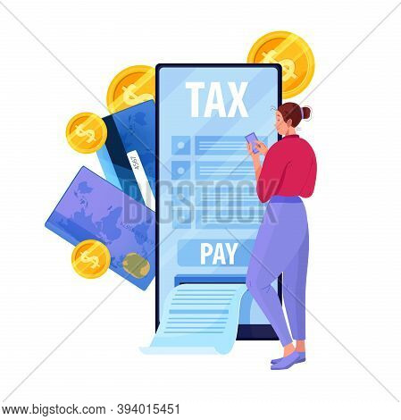 Online Tax Payment Vector Illustration With Woman Filling Mobile Report In Internet Via Smartphone.