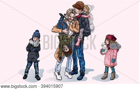 Parents And Children For A Walk In The Winter, Cartoon Style. Mom And Dad Laugh While The Kids Sit O