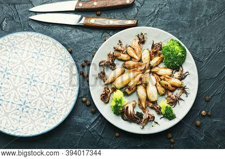 Grilled Squid Stuffed With Vegetables