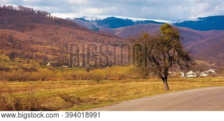Old Road Through Countryside In Early Spring. Leafless Trees Along The Way. Snow Capped Mountain In