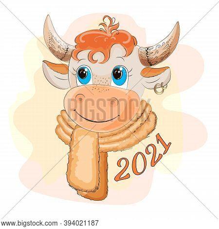 Ox 2021. Chinese Horoscope. 2021 Is The Year Of The White Metal Bull. Symbol Of 2021. Nice Cow. Ox.