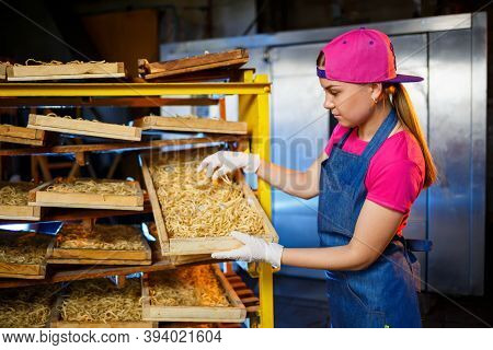 Make The Noodles. Pasta Factory. Spaghetti Production. Raw Pasta. Worker With A Box Of Pasta. Girl W