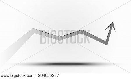 Upward Trend Arrow On Light Background. Vector Illustration.