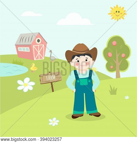Landscape With Farmer In The Foreground, Goose And Duckling, Cute Vector Illustration In Flat Style