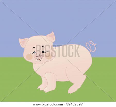 vector little piglet