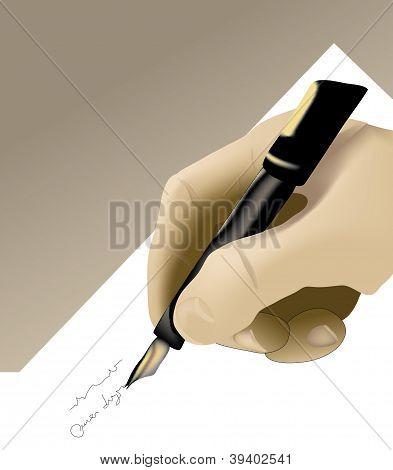 vector hand with fountain pen
