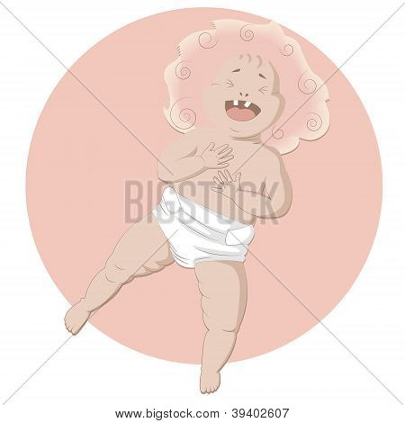 Laughing baby on the pink background 	Laughing baby on the pink background