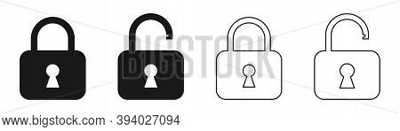 Padlock Icons On White Background. Bold And Outline Lock Symbol In Black. Security Pictogram. Locked