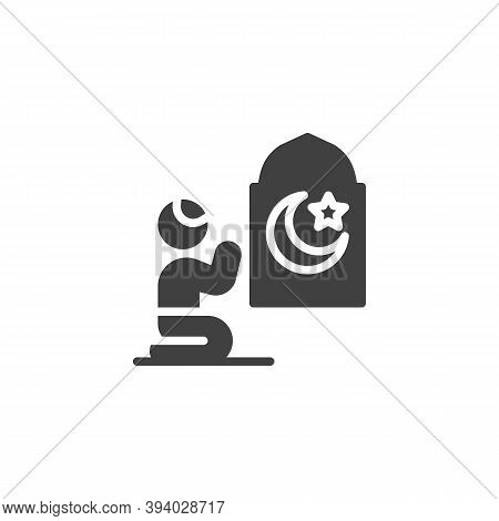Muslim Man Praying In Mosque Vector Icon. Filled Flat Sign For Mobile Concept And Web Design. Man Pr