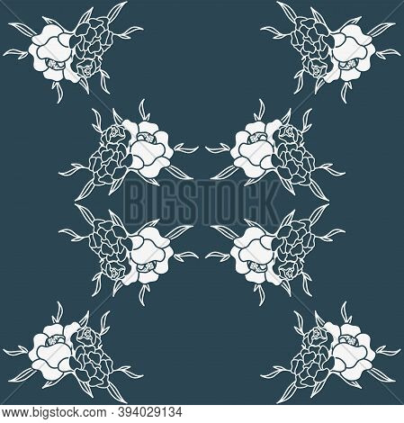 Vector Monochromatic Dusty Blue Peonies Composition Seamless Pattern Background. Perfect For Fabric,