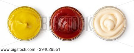 set of bowl with sauce isolated on white background