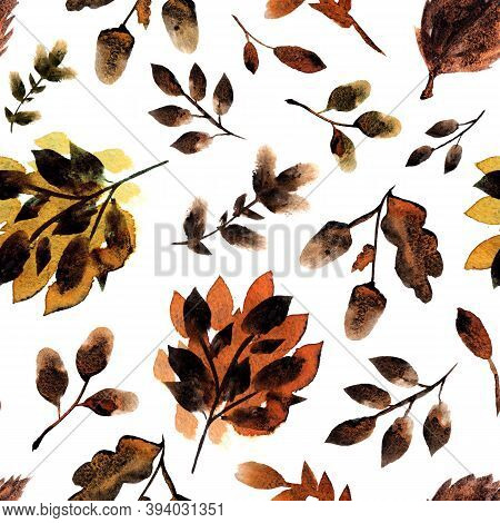 Textured Autumn Pattern With Foliage, Branches And Acorns On White Background. Watercolor Texture Wi