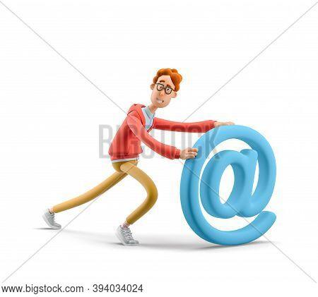 Social Media Concept. Nerd Larry With Email Sign. 3d Illustration.