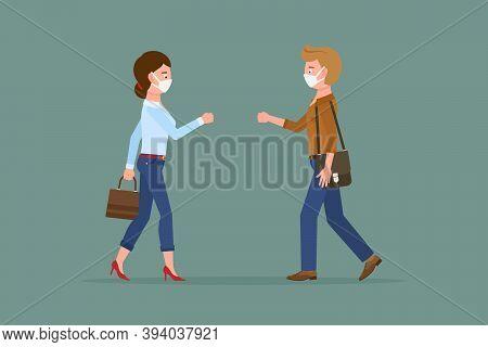 Coronavirus Prevention Cartoon Character Man And Woman Bumping Fists, Saying Hello, Greeting Vector