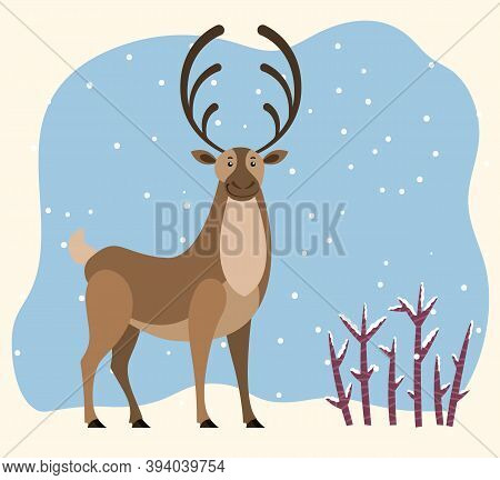 Big North Deer Stand On Snowdrift In Wood. Northern Reindeer With Large Antlers. Cartoon Polar Chara