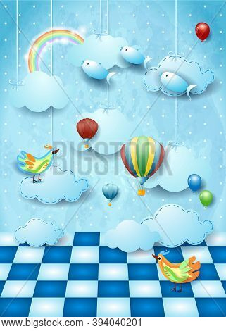 Surreal Landscape With Room, Clouds, Balloons, Birds And Flying Fishes. Vector Illustration Eps10