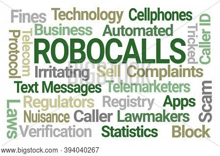 Robocalls Word Cloud on White Background