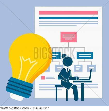 Business Management Concept. Development Of An Action Plan, Presentation, Light Bulb And Large Board