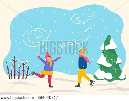 Boy And Girl Skate In Park Or Forest. Two Kids Spend Leisure Time Together, Happy Childhood. Outdoor