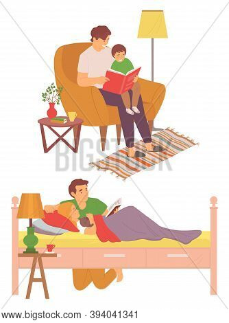Daddy Caring For Child Vector, Father Reading Books In Evening, Male Educating Son Sitting In Armcha