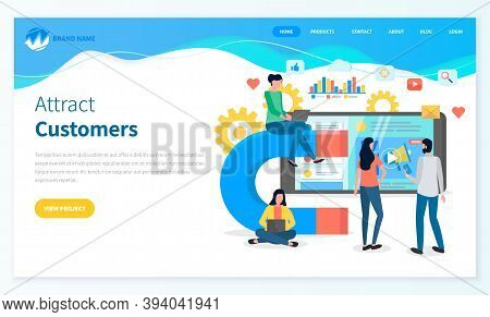 Attracting Online Customers Webpage Template. Big Magnet And A Team Of People With Laptop Around. Cu