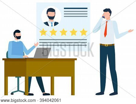 Employer And Employee Vector, People In Office. Worker Sitting By Laptop Boss Of Company Showing Rev