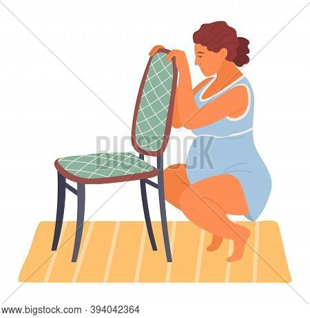 Birth Positions. Pregnant Woman In Sitting Position Soon Before Childbirth Modern Cartoon Style Vect
