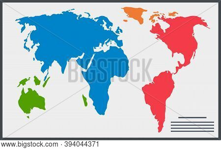 Similar World Map Isolated On White Background. Multicolored Worldmap Vector Template For Website, D