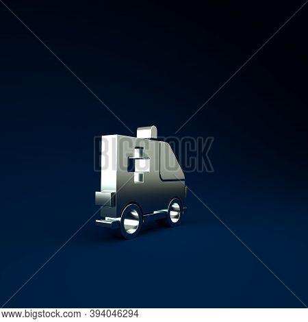 Silver Ambulance And Emergency Car Icon Isolated On Blue Background. Ambulance Vehicle Medical Evacu