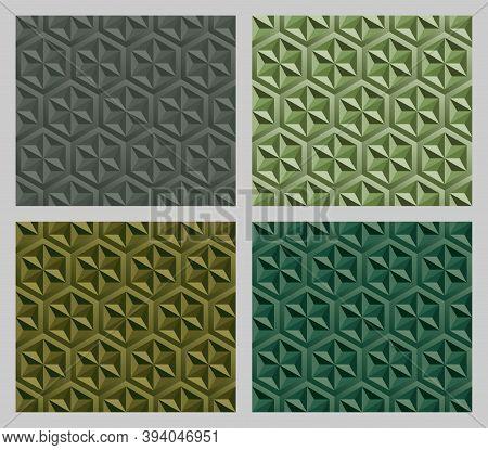 Geometric Hexagram Shapes Seamless Patterns. Earth Tone Green Color Background Set. Vector Illustrat