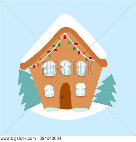 Christmas Cartoon Brown Gingerbread House With Snow And Colored Garland. Vector Flat Illustration Is