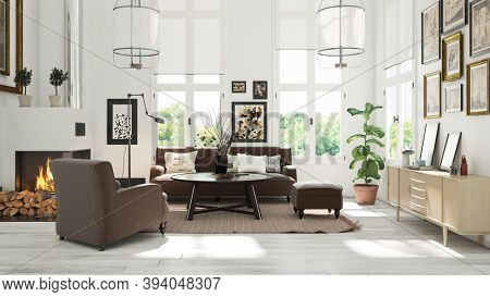 modern living room interior. 3d rendering design