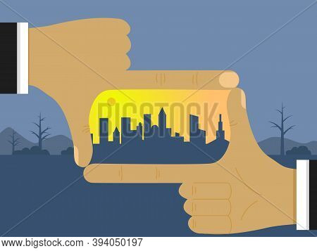 The Architect S Hands Show A New City In The Future On A Deserted, Deserted Place. The Concept Of Bu
