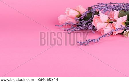 Mothers Day Background With Beautiful Pink Roses And Lavanda Flowers. Valentine's Day Concept, Rest,