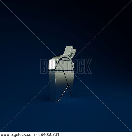 Silver Asian Noodles In Paper Box And Chopsticks Icon Isolated On Blue Background. Street Fast Food.