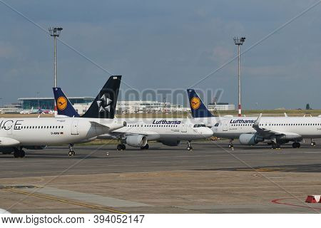 Budapest, Hungary - CIRCA 2020: Many Aircraft of Lufthansa parked at airport. Airlines to find parking place to store unused airplanes during travel restrictions for Covid-19 coronavirus pandemic