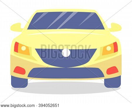 Yellow Car Vector Template On White Background. Business Sedan Isolated. Automobile Front View Flat